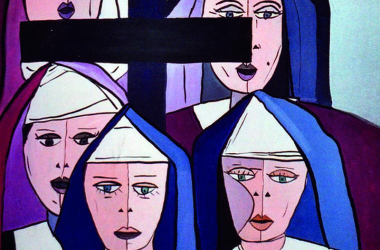 1975, Le suore, tempera su tela, cm. 50x60